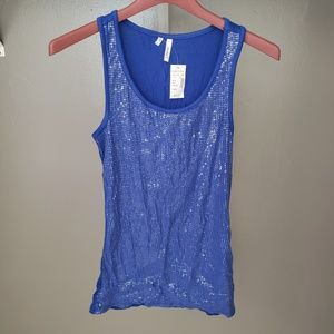 Blue sequins fashion tank top size small juniors